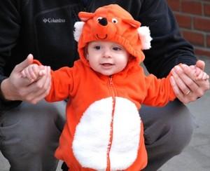 Bridget, 1, is comfy in her fox costume.