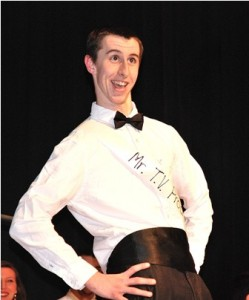 David Dorsey, Mr. TV Production, strikes a humorous pose during the formalwear category.