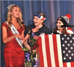 Bailey Medeiros, Miss Massachusetts Teen 2014, explains how she'sl attempt to attain world peace when asked by Mr. MHS Pageant co-hosts Sarah Hanahan and Jayna Dixon.