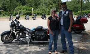 Lead Road Captain Gerianne Beane and Eagle Rider President Dick Durkee stand in front of their bikes after completing the 13th annual Charity Ride. (Photo/Molly McCarthy
