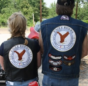 Beane and Durkee proudly wear the official Eagle Rider patch. (Photo/Molly McCarthy)