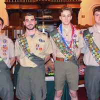 Eagle Scouts of Troop 41 in Marlborough (l to r): Alex Young, Corey Daly, Isaac Niedzielski and Noah Watson. Photo/Ed Karvoski Jr.