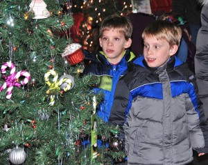 Six-year-old twin brothers Joseph and Daniel Zaorski check out the decorated trees.