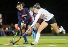 Westborough junior Meghana Paras and Marlborough senior Natasha Santos battle for a loose ball Photo/Jeff Slovin