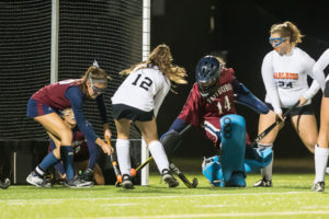 Westborough goalie and several defenders block a shot after a scramble in front of the net Photo/Jeff Slovin