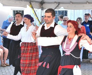 Members of the Boston Lykeion Ellinidon Dance Group perform Sept. 5, the first of the three-day 10th annual Grecian Festival at Sts. Anargyroi Greek Orthodox Church. (Photo/Ed Karvoski Jr.)