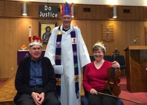 St. Stephen Lutheran Church recently crowned a king and queen of hearts - Frank Dutt of Hudson (left) was crowned king and Tammy Kaye (right) from Shrewsbury was crowned queen. Pastor Cliff Gerber (center) served as stand-in for the jester. (Photo/submitted)