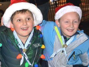 Jacoby Rowe, 9, and Cullen Krasinski, 8, enjoy the holiday celebration.