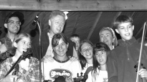 Young Jason Anick, in front, far right, with President and Mrs. Clinton on stage at the Martha's Vineyard  Agricultural Fair, after a fiddle showcase, circa mid-1990s. (Photo/Mark Alan Lovewell)