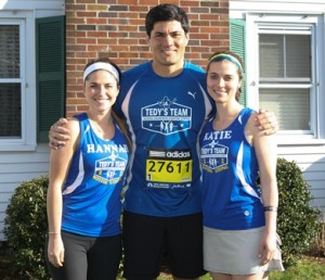 Hannah and Katie Jerdee with former New England Patriots linebacker, Tedy Bruschi.  Photo/submitted