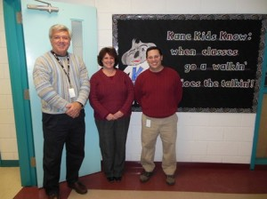 Interim Principal Steve Silvestri, fourth-grade teacher Lisa LeDuc-Creamer, and music teacher Michael Cicerone are very excited for this year's Kane School Student Service Squad to make a difference. (Photo/Nance Ebert)