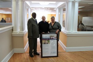 (l to r) Employment Options COO Darrell Young, LCI Paper Owner and CEO Larry Chase, and Kristine Shifrin, Employment Options workforce manager.