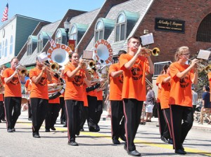 The Marlborough High School Marching Panther Band, under the direction of Gary Piazza, brings music to the parade route
