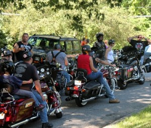 Bikers gather in line to start the ride.