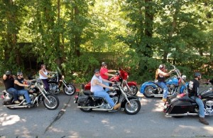 Motorcyclists are all lined up for the memorial ride.