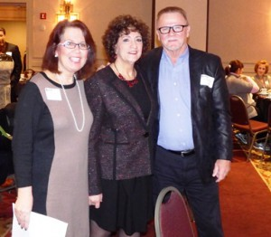 Linda Vissat, (l)  membership services director and Susanne Morreale-Leeber, president and CEO, Marlborough Regional Chamber of Commerce, with former Boston Bruins star Rick Middleton  Photo/Bonnie Adams