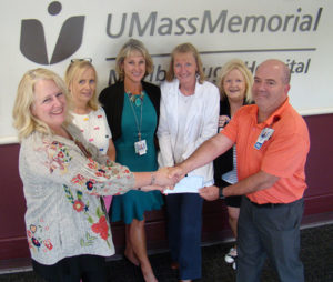 (l to r) Eirinn Campaniello, AseraCare Hospice and Melissa Cannistraro, Melanie Board, Linda Gray, Irene Hadley, and Jeff Madden, all of the Case Management Department, Marlborough Hospital. Photo/submitted