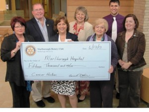 The Marlborough Rotary Club recently donated $15,000 to the Marlborough Hospital Cancer Pavilion. (l to r)  Marlborough Hospital interim President and CEO Candra Szymanski;  Marlborough Rotary Club President-Elect David Walton; Rotary President Bonnie Doolin; Rotary Immediate Past President Elaine McDonald; Rotary Director Marilyn Perry; Rotaract Club President Monthe Kofos; and Rotary Secretary Peggy Sheldon. Photo/submitted