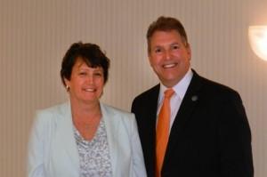 Marlborough's Public School Teacher of the Year Paula Coyne with Mayor Arthur Vigeant.