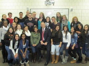 Mayor Arthur Vigeant with Marlborough High School Student Council members. (Photo/submitted)
