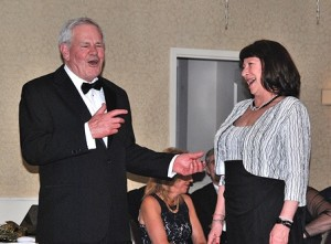 Event-co-chairs Bob Kays and Linda Ossing share a laugh.