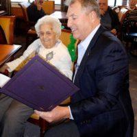 Mayor Arthur Vigeant presents a certificate to Barbara McPhee. Photos/Nance Ebert