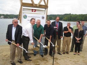 Officials celebrate the ground breaking for the renovations at the beach.  (Photo/Liz Ricketson)
