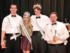 Gathered after the pageant are (l to r) Liam Shanahan, first runner-up; Whitney Sharpe, Miss Massachusetts 2016, who served as a judge; Spencer Geary, the newly crowned Mr. MHS 2016; and Matthew Cummings, second runner-up.