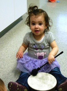 Laura Rodriguez plays the drums.