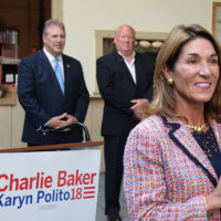 Lt. Gov. Karyn Polito was on the campaign trail recently in Marlborough, speaking at the New England Sports Center as Mayor Arthur Vigeant and NESC General Manager Wes Tuttle look on. Photos Submitted