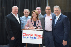 (l to r) Wes Tuttle, Joe Trolla, Dave Walton, Rodney Frias and Mayor Arthur Vigeant were among the sponsors of an evening with Lt. Gov. Karyn Polito as she made a campaign stop at the New England Sports Center. Photos Submitted