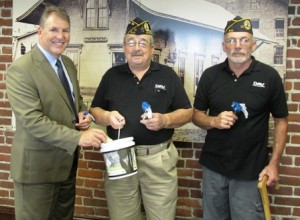 (l to r) In this file photo from July 2015,  Mayor Arthur Vigeant, poses for a photo with Ward 2 City Councilor Robert Page and Ron Dalbec, of the Disabled American Veterans, local chapter 82 of Marlborough. File photo/submitted