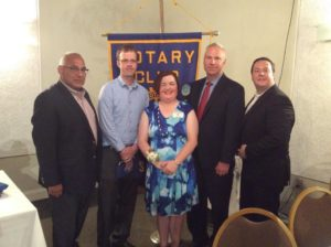 New officers of the Rotary Club of Marlborough are (l to r) Sem Aykanian, president-elect; Matthew McCook, vice president-treasurer; Peggy Sheldon, president; Peter Marshall, sergeant-at-arms; and Michael Lashua, secretary.