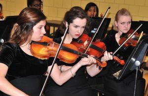 Members of the Marlborough High School String Ensemble serenade dinner guests.