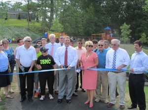Marlborough officials cut the ribbon for the newly renovated WWII Memorial Beach. (Photos/submitted)