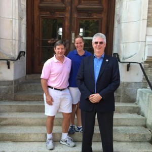 The gurus of wellness in Marlborough (l to r) Darren McLaughlin, Julie Dalbec and Martin Lewins visit City Hall for an informal meeting recently to discuss one of the many projects they share to help city residents.