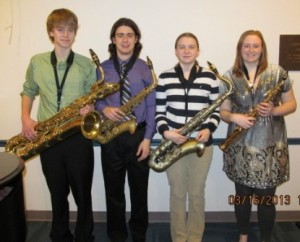 One of the finalists of the 2013 Young People's Performing Arts Festival Concert – the Marlborough Saxophone Quartet made up of (l to r) Austin Turner, Nick Mosca, Sarah Hanahan and Emily Whapham. (Photo/submitted)