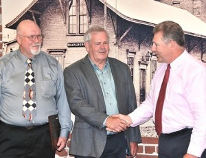 Bob Kays (center) is announced the grand marshal of the 62nd annual Marlborough Labor Day Parade by (l to r) Parade Director Ed Thurber and Mayor Arthur Vigeant. (Photo/Ed Karvoski Jr.)