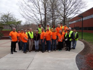 Raytheon employees get ready to hit the streets of Marlborough as part of the Clean Sweep initiative.  Photo/submitted