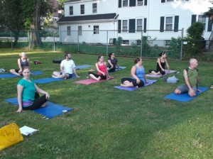 Marlborough - Union Common in downtown Marlborough was the site of a yoga class to benefit the Marlborough Community Cupboard Aug. 8.