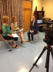 Jen Maseda (far right), senior vice president of United Way Tri-County, is interviewed by Judy Kane for the Marlborough Cable Access channel (left). Also pictured is Jennifer Claro, Director of the Marlborough Senior Center. (Photo/submitted)