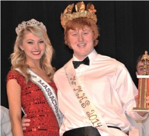 Bailey Medeiros, Miss Massachusetts Teen 2014, congratulates the newly-crowned Mr. MHS 2014, Ryan King, who competed as Mr. Senior Class.