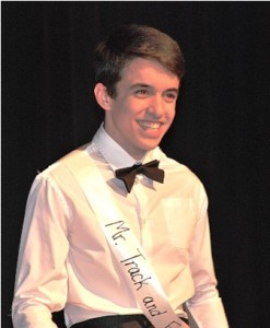Peter DiPersio, Mr. Track and Field, flashes a smile during the formalwear category.