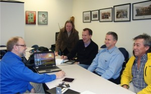 Participating in the Marlborough Solar Discount Program Workshop held recently were (left to right) Mark Durrenberger, partner, New England Clean Energy; Jen Boudrie, founder and director of Green Marlborough; Mike Manning, Green Marlborough; and Marlborough residents Jeff Sable and Ramon Monzon.  (Photo/submitted)