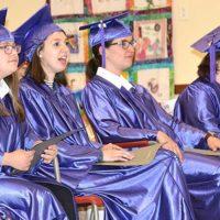 (l to r) Caitlyn Kline, Samantha Grimaldo, Paula Cezar and Kristen Camacho listen to a speaker. Photos/Ed Karvoski Jr.