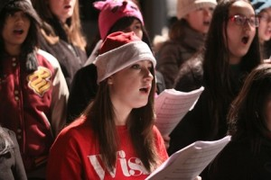 Members of the Marlborough High School Mixed Chorus perform at Friday's Home for the Holidays festival.