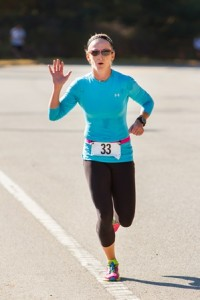 Karen Gregorczyk of Paxton wins the Trick or Trot 5K with a time of 21:19.