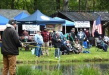 Veterans and volunteers fish and mingle at the Marlborough Fish & Game Association pond. Photos/Ed Karvoski Jr.