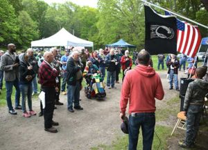 Fishing derby participants begin the day with the Pledge of Allegiance. Photos/Ed Karvoski Jr.