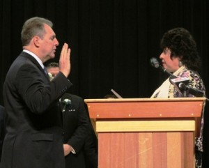 Marlborough City Clerk Lisa M. Thomas invokes the oath of office to Mayor Arthur Vigeant during inaugural ceremonies held January 6 at the Lt. Charles W. Whitcomb School. Photo/courtesy Mayor Arthur Vigeant's office